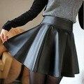 2015 Nueva primavera y el verano estilo de la moda Coreana retro Negro Cuero de LA PU falda plisada falda de cuero de imitación envío gratis