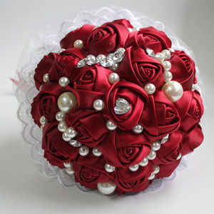 Image 2 - POP Style Pearl Wine Red Silk Ribbon Flowers Bridal Wedding Bouquets Romantic Lace Wedding Bridesmaid Stitch Bouquet W239