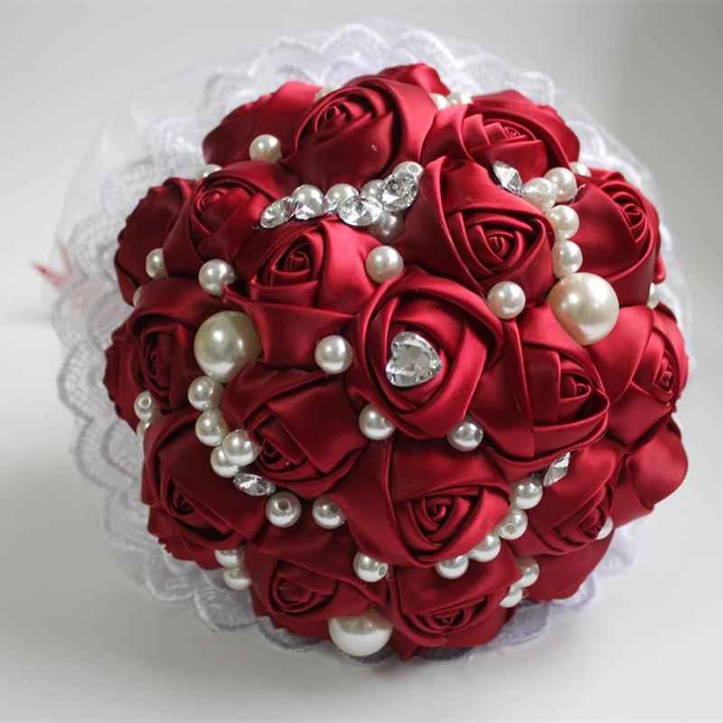 Silk Rose Pearls Beaded Wine Red Wedding Flowers Bridal