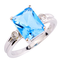 lingmei Wholesale Uuisex Jewelry Emerald Cut Blue & White Topaz Silver Ring Size 6 7 8 9 10 Fashion Women Gift Free Shipping
