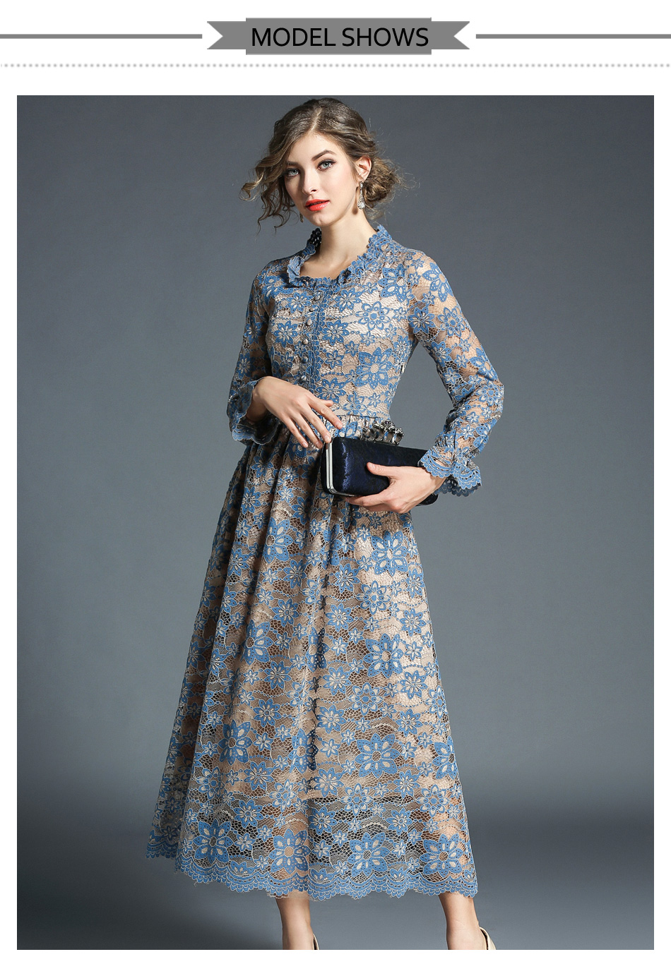 Elegant Vintage Flower Hollow Out Long Sleeve Lace Dress 2