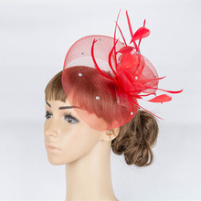 Red or 35 Colors fashion dance fascinators elegant ladies rose hats fancy feather decoration attractive hair