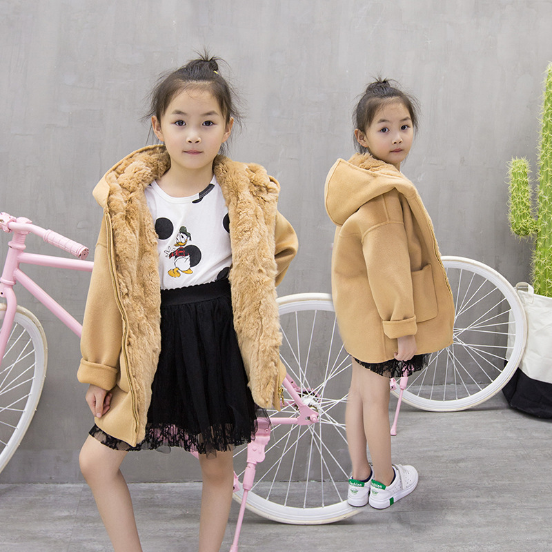 2018 boys and girls children fur coat rabbit fur liner double wool coat in the long section overcoming the hood ZPC-275 overcoming adversities resilience in rural southeastern montana