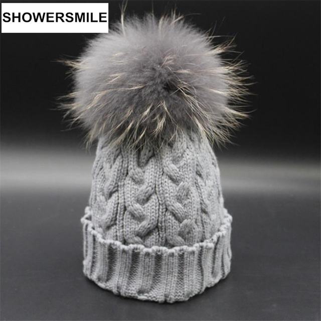 Knitted Hat Women Real Raccoon Fur Pom Pom Hats Winter Warm Skullies Beanies Handmade Solid Gray Brand Woman Cap