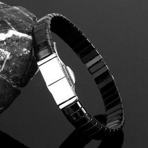 Image 3 - Nieuwe Mode Black Charm Armband Keramische Rvs Crystal Link Armbanden Voor Vrouwen Zilver Kleur Mode sieraden Geschenken