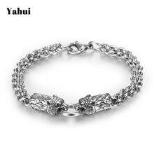 YaHui stainless steel silver Wolf head men bracelet charms friendship personaliz