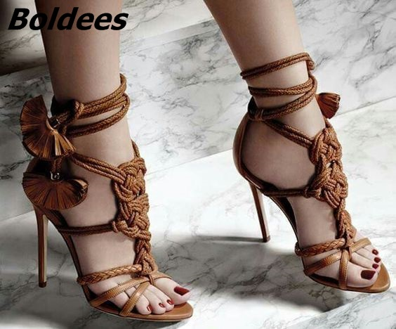 Designer Brown Rope Fringed Flowers Thin High Heels Shoes Women Open Toe Strappy Fancy Sandals