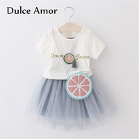 Dulce Amor Baby Girl Clothes Set 2018 Summer 3PCS Kids Clothing Set T Shirt Mesh Skirt