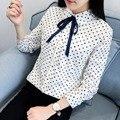 H. SA Mulheres Gravata borboleta Blusa 2017 Spring Summer Long Sleeve pontos blusa Tops Estilo Coreano Escritório Feminino Camisas plissado Elegante De