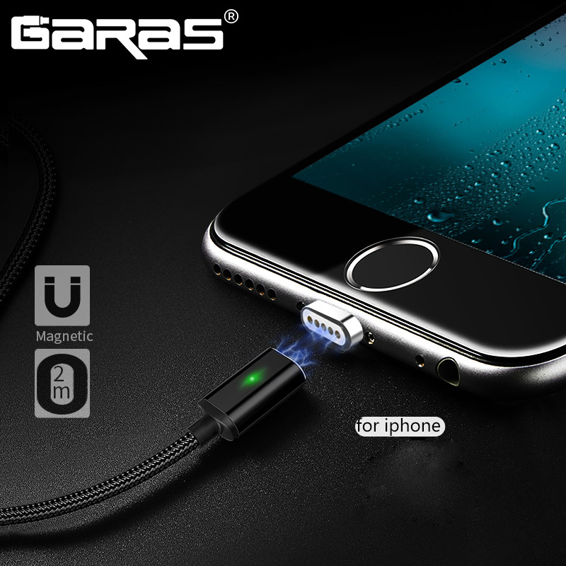 GARAS Magnetic Cable For iPhone Charger Adapter Cable For Iphone/iPad Air/iPod Mobile Phone Cables For iPhone 2m USB Cable-in Mobile Phone Cables from Cellphones & Telecommunications on AliExpress
