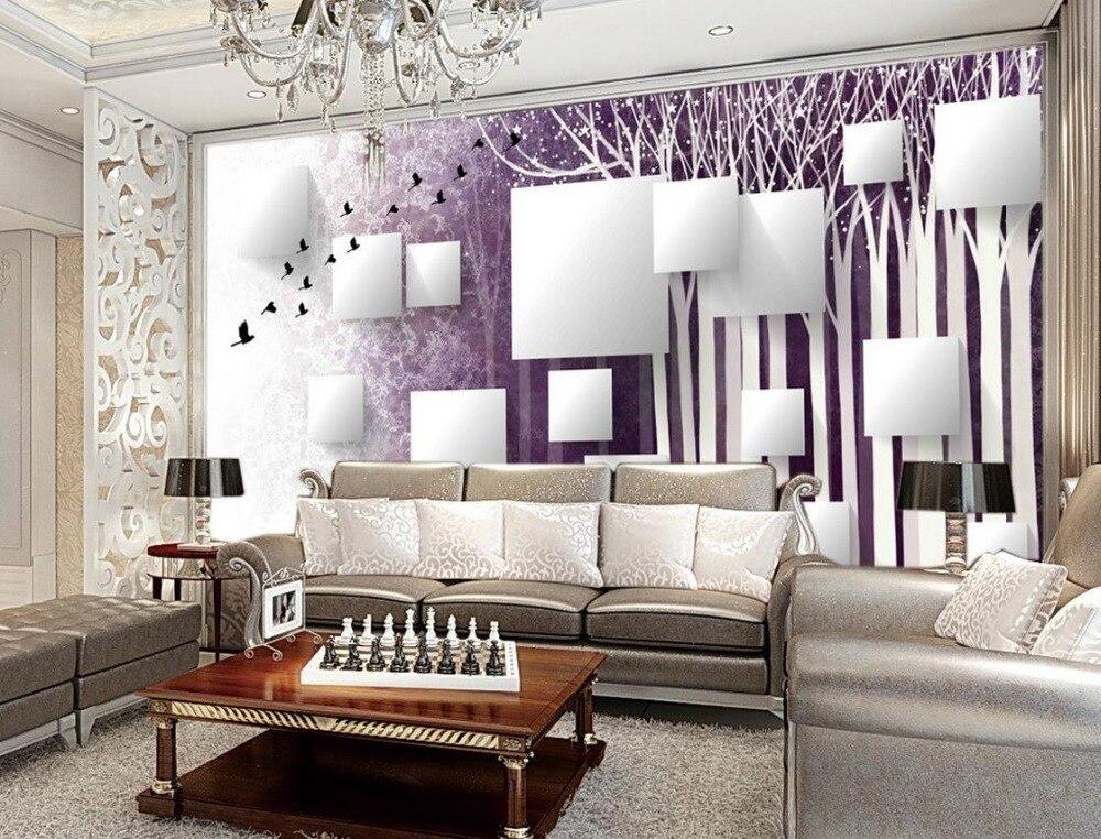 € 12.94 53% de réduction|Abstrait bois oiseau fond peintures murales salle  de bains 3d papier peint chambre moderne papier peint personnalisé 3d ...