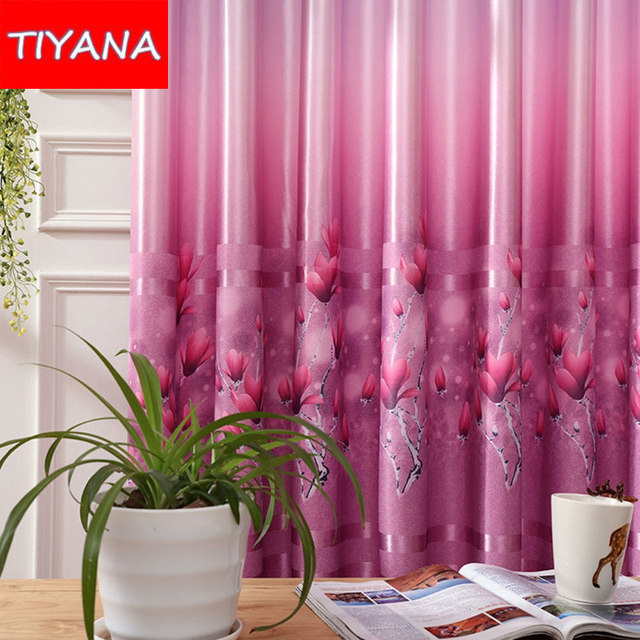 1 Panel Rustic Purple Window Curtains Fabric For Living Room Flower ...