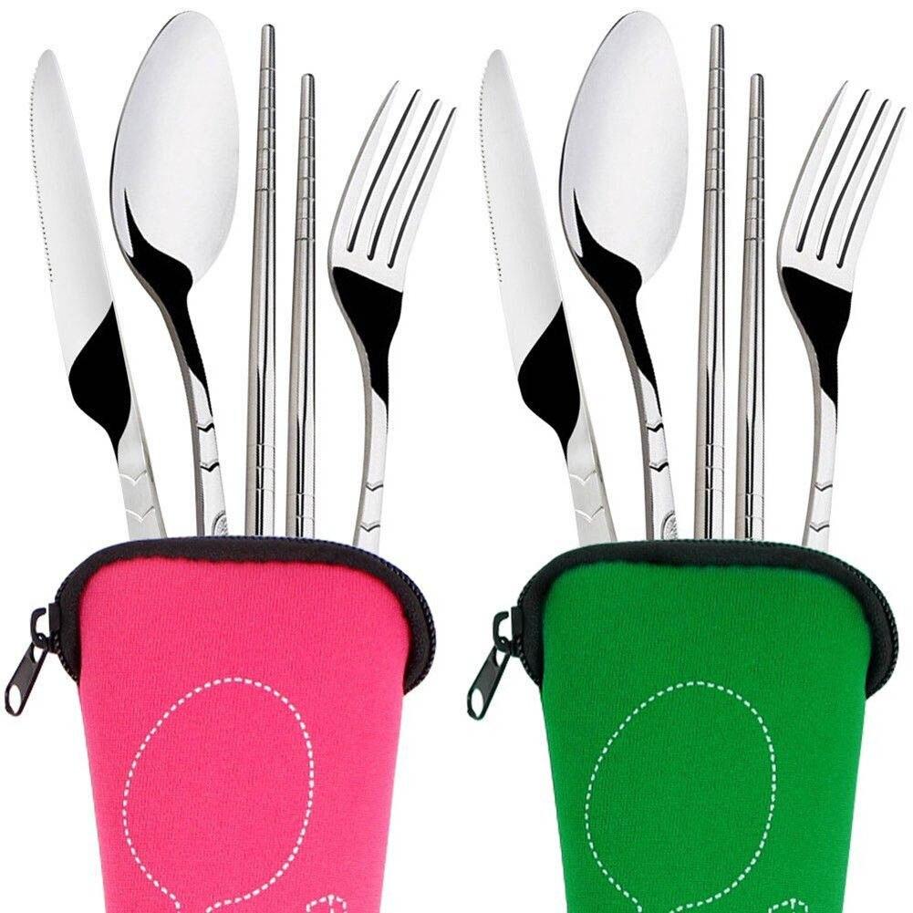 4 pièces/ensemble en acier inoxydable fourchette cuillère baguettes voyage Camping couverts outils vaisselle ASD88