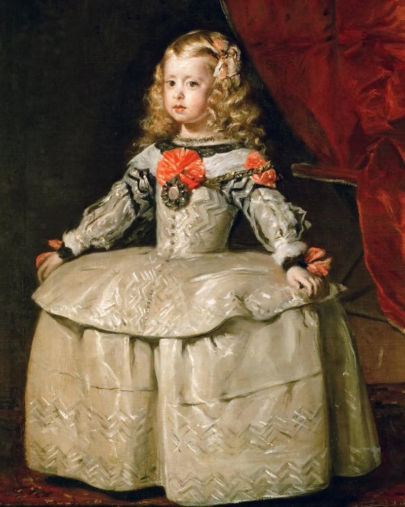 Klasický obrazový obraz vinobraní portrét plakát obraz obraz Diego Velazquez Infanta Margaraita Teresa v bílém oděvu