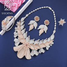 Siscathy 4PCS Luxury Nigerian Bridal Jewelry Sets Cubic Zirconia Collar Necklace Earrings Bangle Resizable Ring