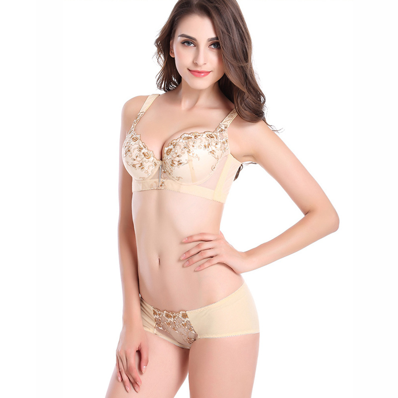 Luxury beautiful floral embroidery sexy lingerie gather close Furu ...