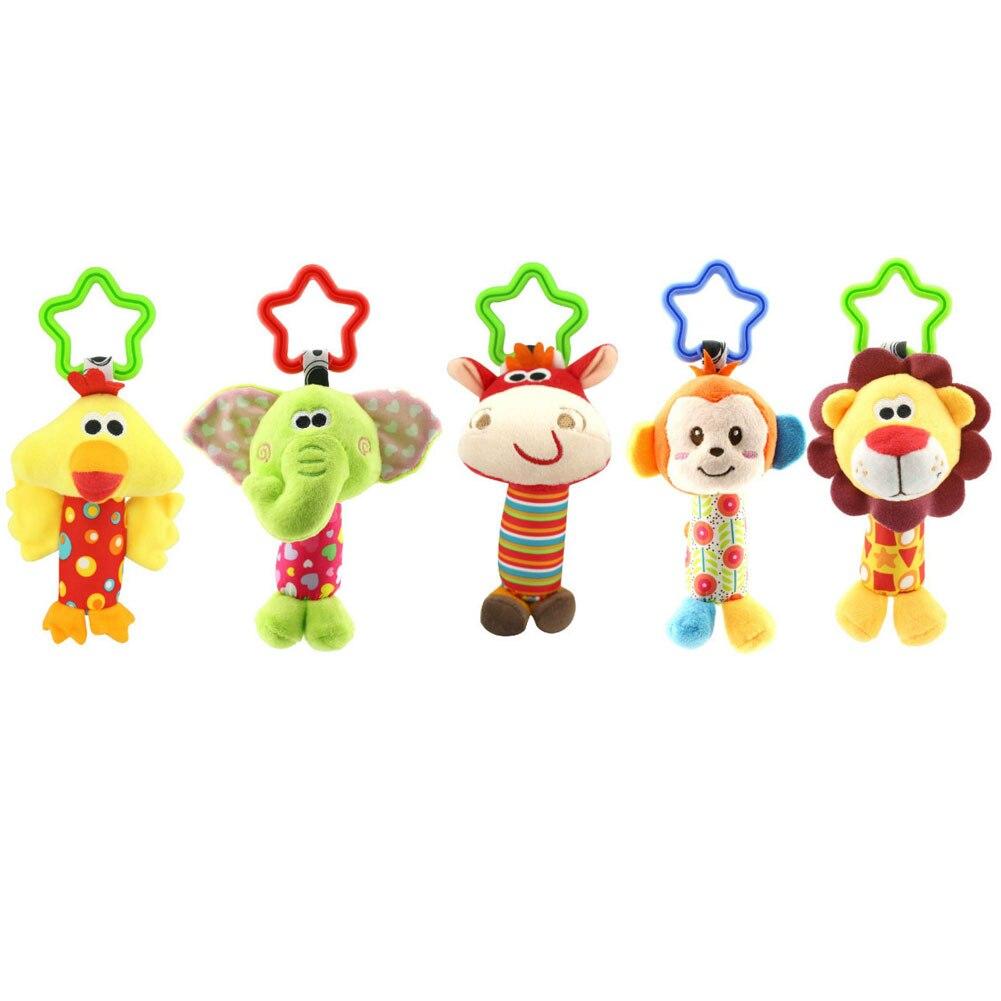 Vente chaude enfants jouets en peluche coloré Animal suspendu lit berceau poussette apaiser poupée hochet saisir jouet cadeau