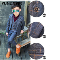 YUNJINYIYI Boys Formal Suits For Weddings England Style Man Child Blue Party Tuxedos Boys Formal Suits Blazer+Pants+Vest