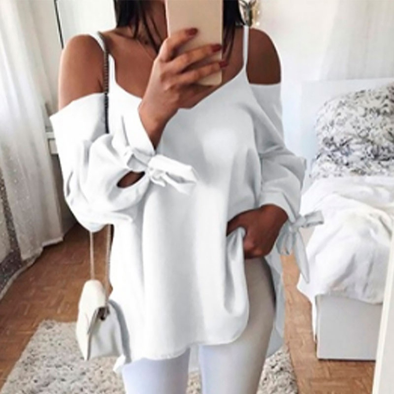 Summer Autumn Women Long-Sleeved Shirts Sexy Sling Off Shoulder V-Neck Loose Bow Tie Sleeve Tops Casual Solid Shirts