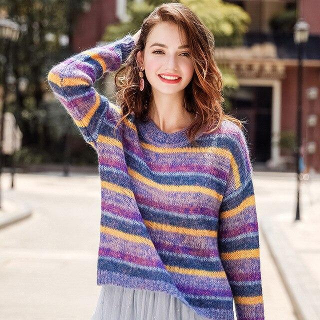 FOGIMOYA свитер 2018 осенью новый Женские Модные шею Радуга Полосатый пуловер свитер Повседневное дикий Kniiting свитера