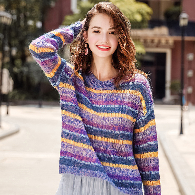 FOGIMOYA Sweater 2018 Autumn New Fashion Women's Round Neck Rainbow Striped Pullover Sweater Casual Wild Kniiting Sweaters