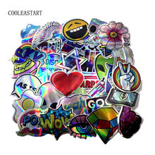 NEW 60pcs/pack Cartoon ET ufo Laser toy Stickers For suitcase skateboard laptop motorcycle toys flash waterproof Graffiti decals(China)