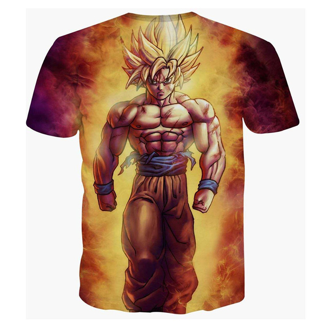 2017 Harajuku Style Classic Anime Dragon Ball Z Super Saiyan 3D T Shirt Bright Fire Son Gohan T-shirt Casual Tees Tops