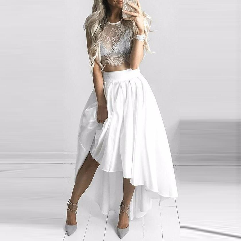 Fashion High Low White Taffeta Skirts Womens Solid High Waist Front Long Back Pleated Skirt 5XL Plus Size Saias Feminina