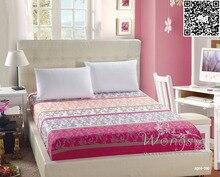Wongsbedding 1 UNIDS mezcla de algodón sábana ajustable 120×200/150×200/180×200 cm Colchón flor cubierta sábana con elástico rosa/azul