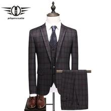 Plyesxale Slim Fit Plaid Suit Men 2018 Luxury Brand Mens Suits Wedding Groom 3 Piece Formal Business Costume Homme Q367