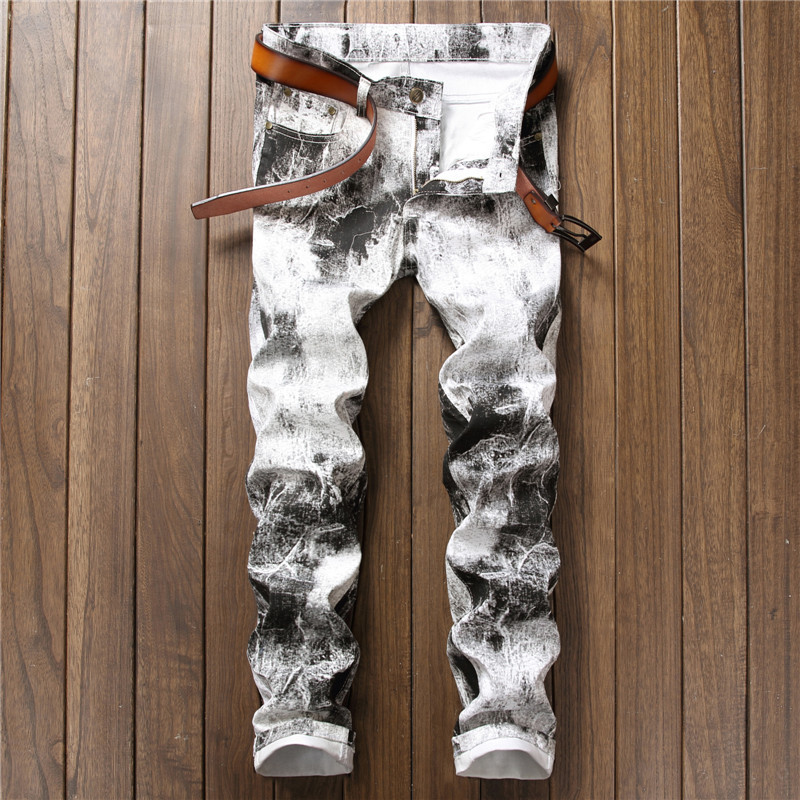 New 2017 Men`s Printed Jeans Pants Punk Style Gothic Black Painted DJ club Night Slim Leg Cool White Jeans For Young Men charter club women s comfort waist slim leg pants 18 warm toffee