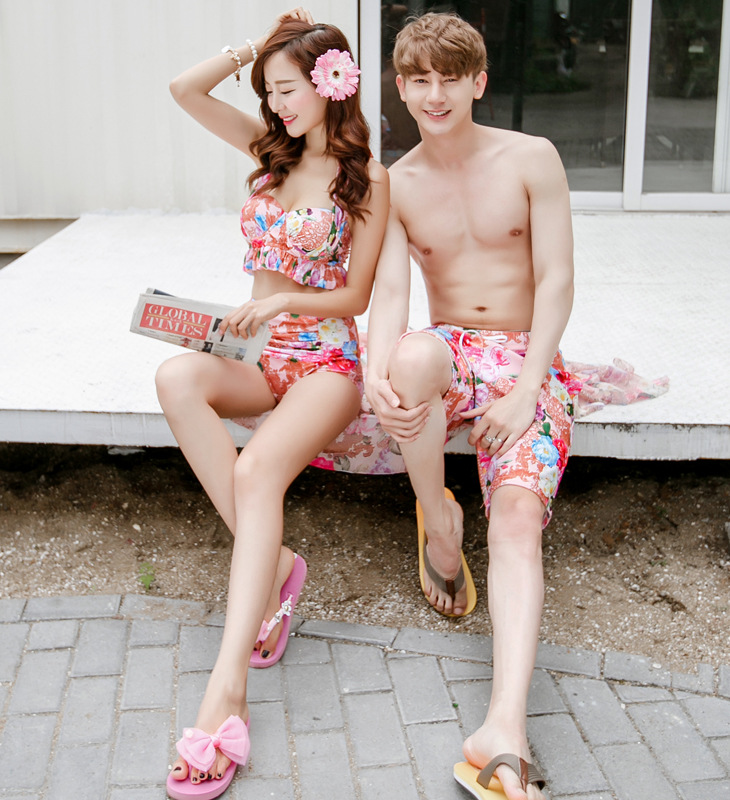 Board Short Lovers Swimwear Women Bikinis Swimsuits Men Swimming Trunks Beach Surf Shorts Quick Dry Print Couple Swimming Wear