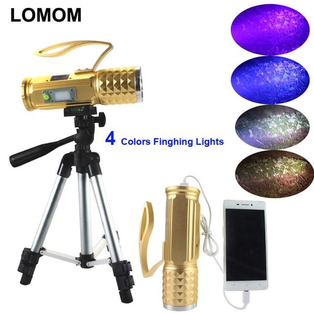 LOMOM USB Профессиональный свет рыболовства 20W 4 цвета T6 светодиодный фонарик для рыбалки охотничье снаряжение Штатив УФ фонарик
