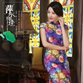Free Shipping Vintage qipao dress Velvet Chinese Dress Floral Painted Blend Silk Cheong-sam Long Cheongsam Dress 3 Style