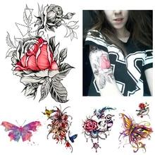 1 Piece Sketch Decal Waterproof Tattoo Heart Rose Flower Pattern Sticker Design KM-055 Women Body Art Temporary Tattoo Taty