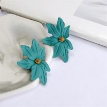 ECODAY Metal Flower Earings Fashion Jewelry Korean Earrings Stud for Women Pendientes Brincos 2019