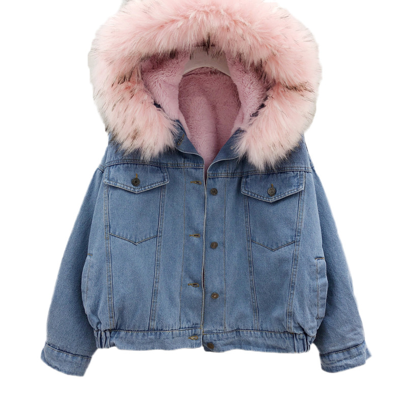 Winter women denim cotton jacket 2018 new fashion fur collar hooded single breasted coat thick warm