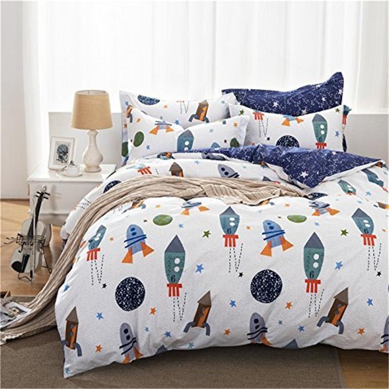 FADFAY Cotton Home Textile Boys Galaxy Space Bedding Set