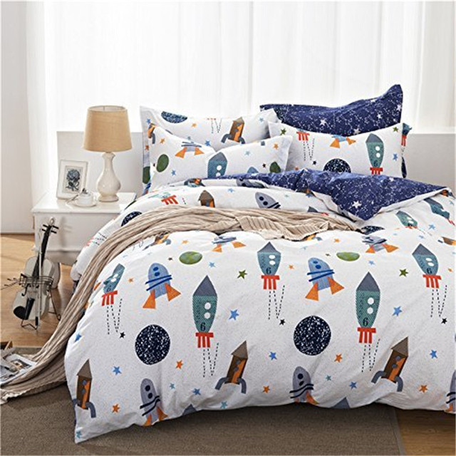 Beautiful FADFAY Cotton Home Textile Boys Galaxy Space Bedding Set Kids Bedding Sheet  Set Duvet Cover Twin