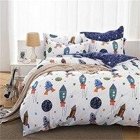 FADFAY 100 Cotton Home Textile Boys Galaxy Space Bedding Set Kids Bedding Sheet Set Duvet Cover
