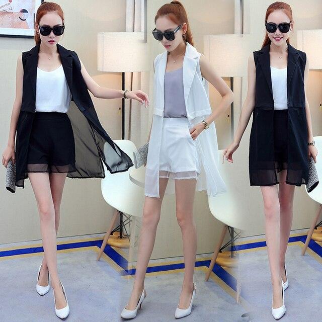 2 -Piece Suits Sleeveless Chiffon Vest + Shorts Fashion Women Summer Clothing Sets