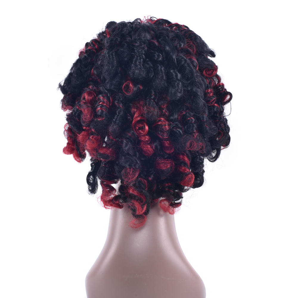 Soowee Red Mix Black Synthetic Hair Wigs Afro Curly Hair Heat Resistant Fiber Hair Cosplay Wigs for Black Women & Men