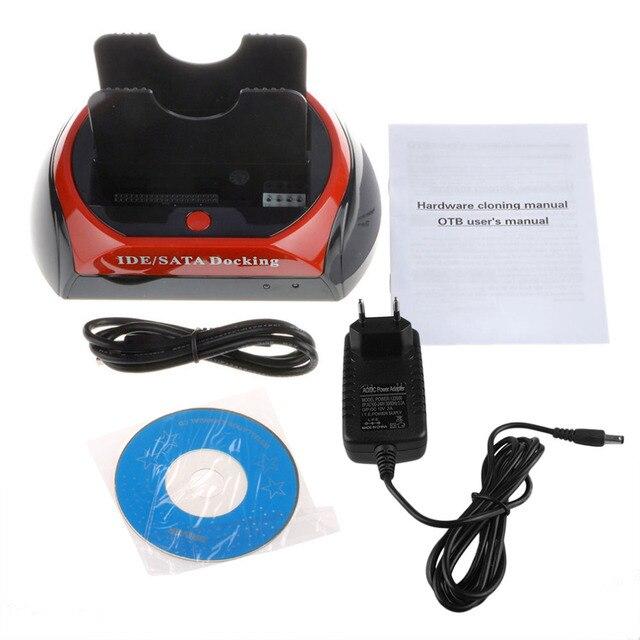 EE. UU./UE Conveniente 2.5 Pulgadas 3.5 Pulgadas IDE SATA USB 2.0 Dual Base de Disco Duro HDD Disco Duro Estación De Acoplamiento Puede