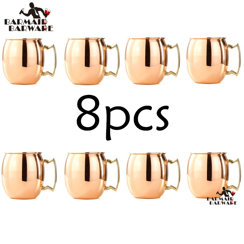 8 Pieces 550ml Perfect Smooth Moscow Mule Mug Drum Copper Plated Beer Cup Coffee Cup Stainless