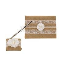 2Pcs Set 007 Burlap Hessian Lace Guest Book Pen Ring Pillow Flower Basket Garter Decoration Wedding