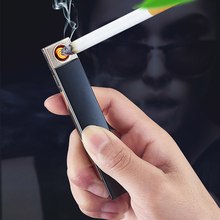 USB rechargeable lighter windproof ultra-thin electric heating wire men and women's personal gift electronic cigarette lighter