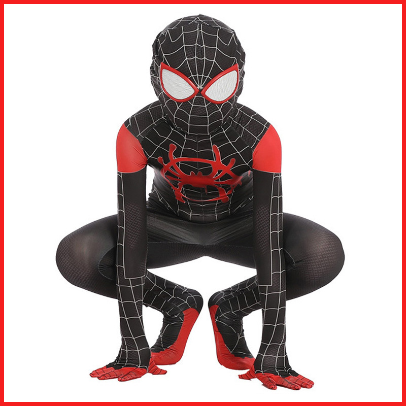 Kids New 3D SpiderMan Into the Spider-Verse Miles Morales Cosplay Costume Adult Lycra Zentai Spiderman Pattern Jumpsuits