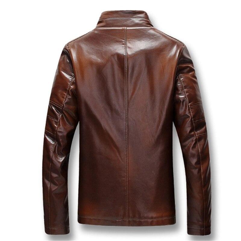 Homens Outono Inverno de Lã Grossa PU Jaquetas De Couro Casacos Hombre Masculina Moda Casual Slim Fit Tamanho Grande Jaquetas Zip Homens casaco - 4
