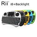 Rii i8 + 2.4g mini teclado com retroiluminado backlight gaming keyboard qwerty mouse touchpad sem fio para pc/android caixa de tv/x360/ps345