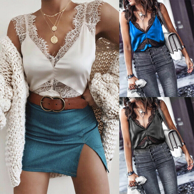 Lace Sleeveless shirts Strap Camisole   Tank     top   See Through Patchwork V-neck Vest lette Bustier women sexy vext female summer   top